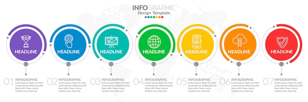 Infographics for business concept with icons and 7 options.