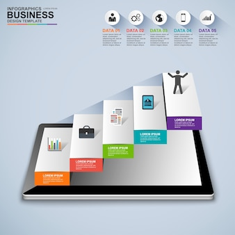 インフォグラフィックスビジネス階段ステップ成功ベクトルデザインテンプレート