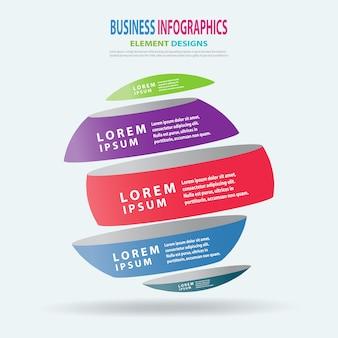 Infographics business template 3d sphere for presentation, sale forecast, process improvement