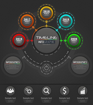 Infographics business template concept with 5 options