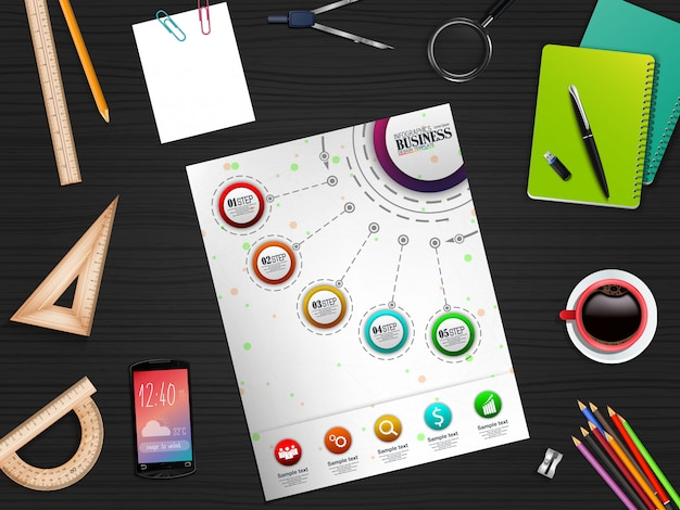 Infographics business template concept with five options and stationary