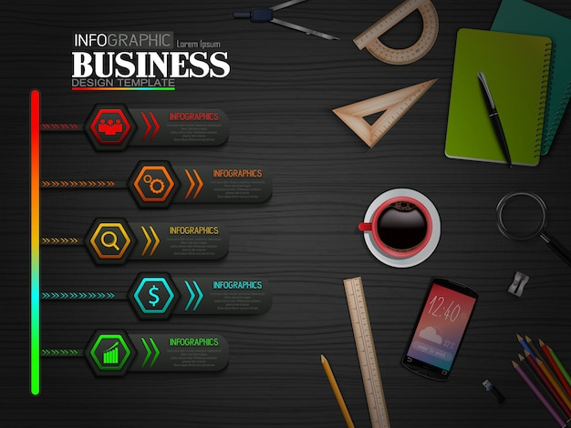 Infographics business template concept with stationary