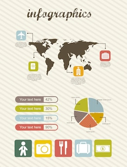 Infographics of business travel vintage style vector illustration