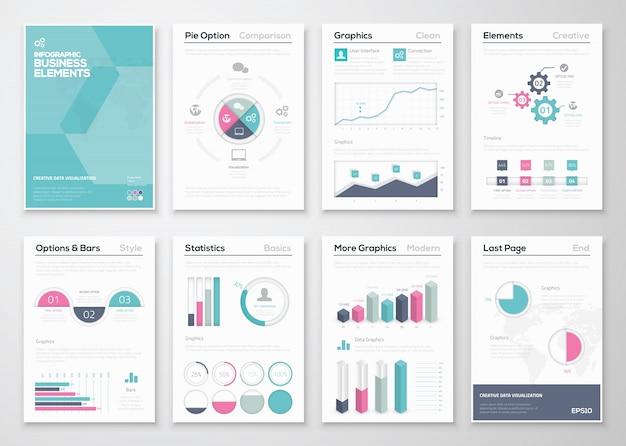 企業パンフレットのためのinfographicsビジネスベクターエレメント