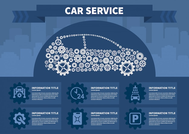 Infographics car service vector illustration.