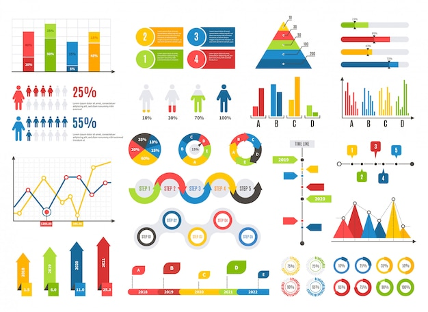 Infographics chart set. charts result graphs icons statistics financial data diagrams. isolated analysis elements