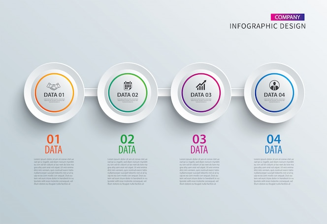 Infographics circle paper with 4 data horizontal template.