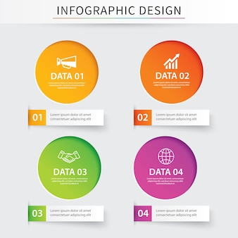 Infographics circle paper with 4 data template.