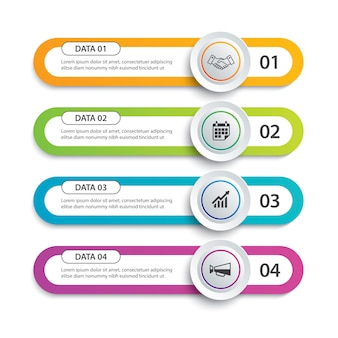 Infographics circle and tab index paper with 4 data template