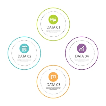 Infographics circle thin line with 4 data template