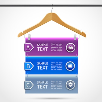 Infographics clothes wooden hanger with description on tube isolated 3d vector illustration