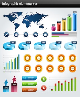 Infographics collection vector graph and charts design elements