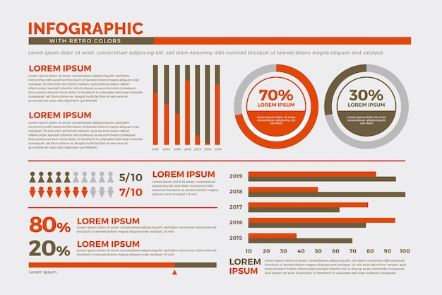 Infographics collection with retro colors