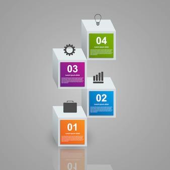 現実的なカラフルな3 dキューブで構成されるインフォグラフィック。 Premiumベクター