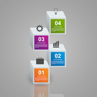 Infographics consisting of realistic colorful 3d cubes.