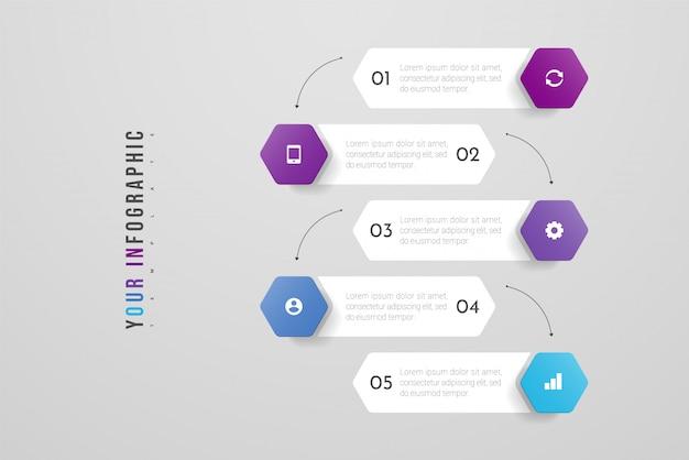 5 가지 옵션, 단계 또는 프로세스가 포함 된 인포 그래픽 디자인 및 마케팅 아이콘. 연례 보고서, 순서도, 다이어그램, 프리젠 테이션, 웹 사이트에 사용할 수 있습니다. 삽화