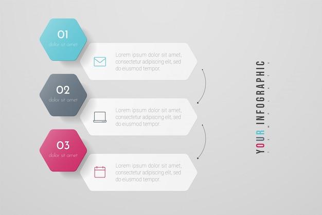 3つのオプション、ステップまたはプロセスを持つインフォグラフィックデザインとマーケティングのアイコン。年次報告書、フローチャート、図、プレゼンテーション、webサイトに使用できます。