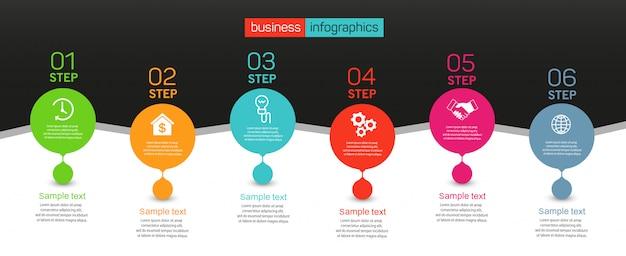 6つのオプション、ステップまたはプロセスを備えたインフォグラフィックデザインコンセプト