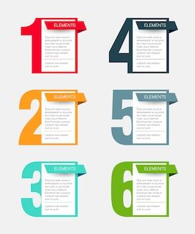 6つのステップまたはオプションのインフォグラフィックデザインコンセプト