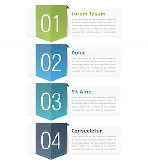 番号(ステップまたはオプション)とテキストのための場所を持つインフォグラフィックデザイン要素