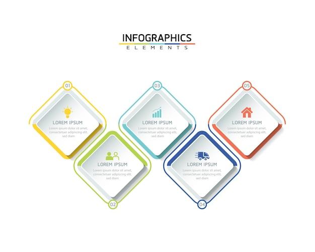 Инфографика шаблон дизайна бизнес-информации диаграмма презентации с 5 вариантами или шагами