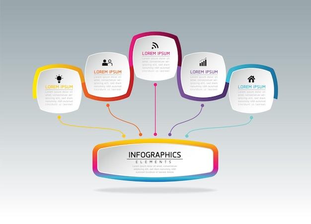 5 가지 옵션 또는 단계가있는 인포 그래픽 디자인 템플릿 비즈니스 정보 프레젠테이션 차트