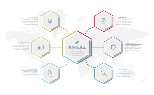 6 가지 옵션 또는 단계가있는 인포 그래픽 디자인 템플릿 비즈니스 정보 프레젠테이션 차트