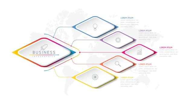 5つのオプションまたはステップを備えたインフォグラフィックデザインテンプレートチャート