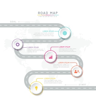 5 가지 옵션 또는 단계가있는 인포 그래픽 디자인 템플릿 차트