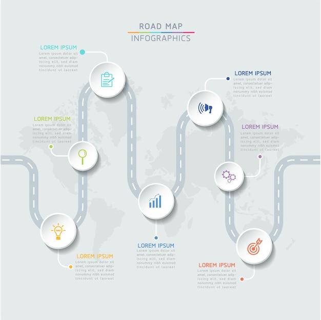 7 가지 옵션 또는 단계가있는 인포 그래픽 디자인 템플릿 차트