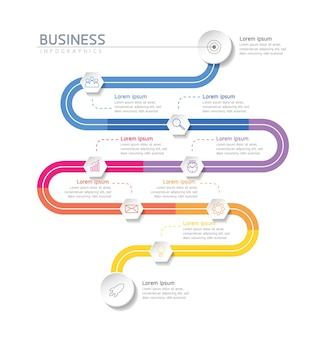 9つのオプションまたはステップを備えたインフォグラフィックデザインテンプレートチャート