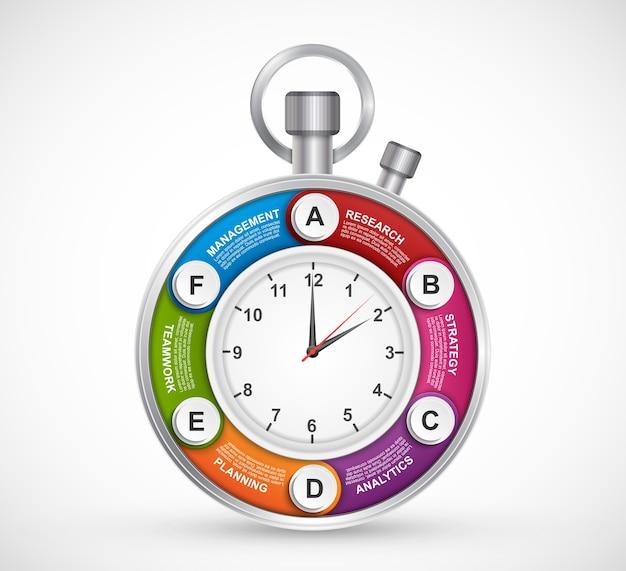 時計の形のインフォグラフィックデザインテンプレート。 Premiumベクター