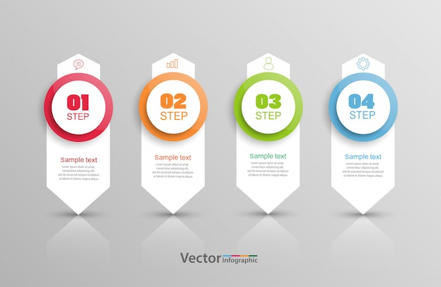 Infographics design template with 4 steps or options
