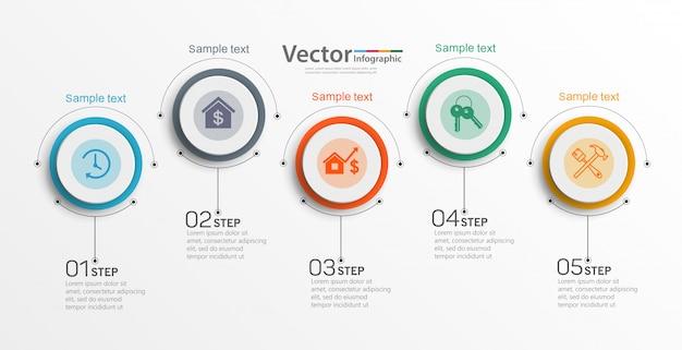 5 가지 옵션이있는 인포 그래픽 디자인 템플릿 프리미엄 벡터