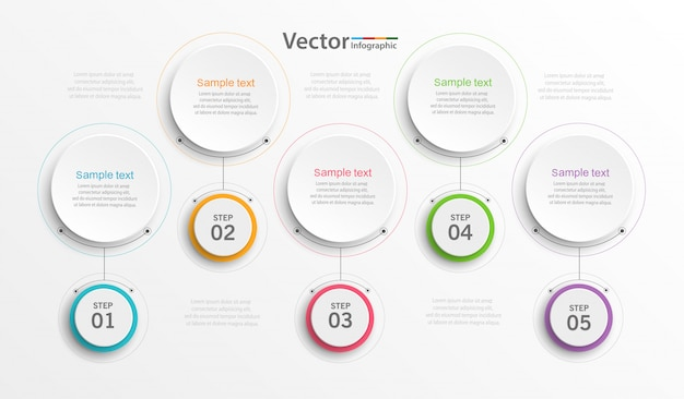 Infographics design  template with 5 steps or options