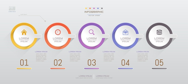 Infographics design template with five steps
