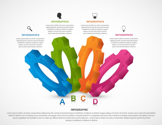 Infographics design template with gears.