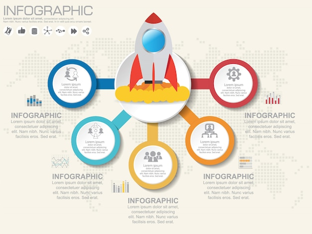 Infographics design template with options, process diagram.