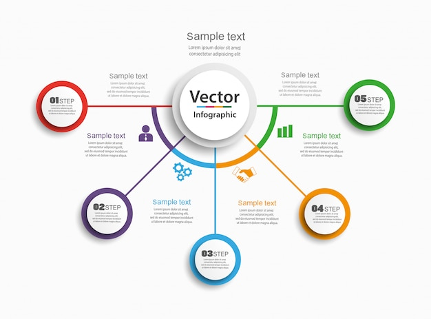 Infographics design vector  concept with 5 options, steps or processes