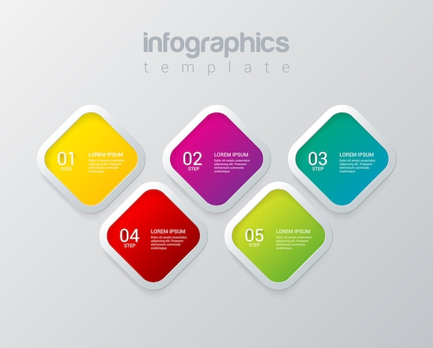Modello di vettore di progettazione infografica modello multicolore raccolta di concetti di sfondo infografica