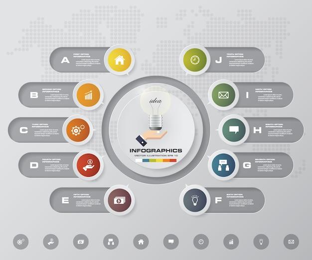 Infographicsは10のオプションを持つベクトルを設計します。