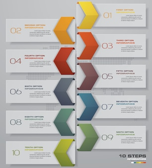 Infographics design with 10 steps timeline.