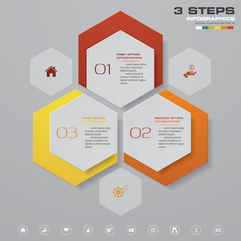 Infographics design with 3 steps chart.
