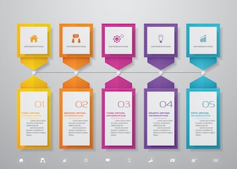 Infographics design with 5 steps timeline chart.