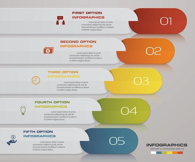 インフォグラフィックデザインは、プレゼンテーションの5つのステップタイムラインで構成されています。