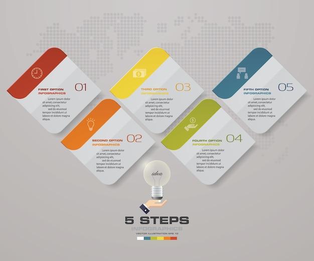 Infographics design with 5 steps timeline presentation.