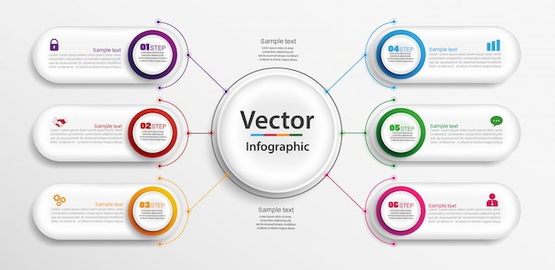 Infographics design with 6 options, steps or processes