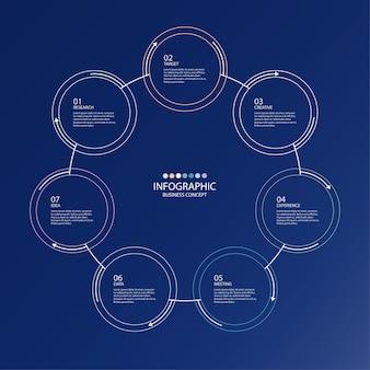 Инфографический элемент кругов и основных цветов для настоящей бизнес-концепции. абстрактные элементы, варианты, части или процессы.