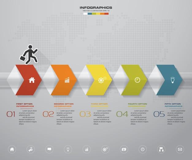 Infographics element with 5 steps timeline for presentation.