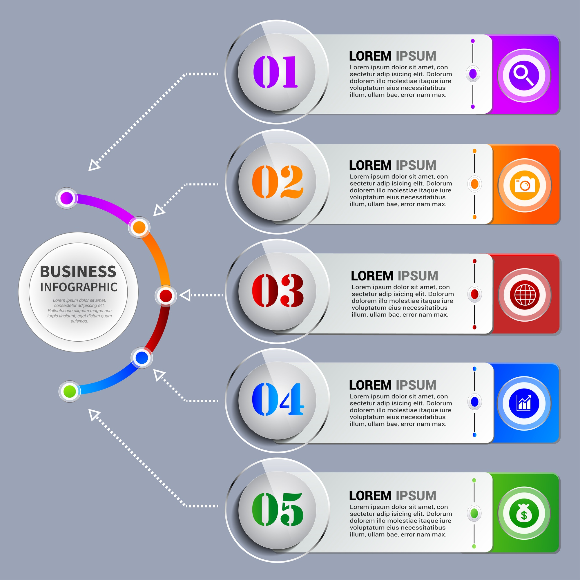 Infographics element with various steps